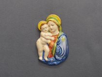 Madonna relief painted on majolica