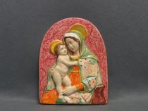 Ceramic relief of Madonna painted in Faenza
