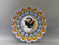 "artistic Ceramic hand painted centerpiece, ""Peacock's Feather"" style,"