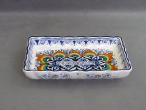 Hand-painted scalloped ceramic tray