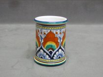 "Hand-painted ceramic pen holder ""Penna di Pavone"" style"