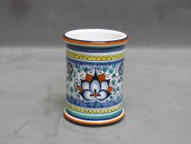 Hand painted ceramic pen holder, Faenza Pottery Art