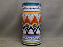 Cylindrical umbrella stand in artistic ceramic of Faenza hand painted in Pavona style
