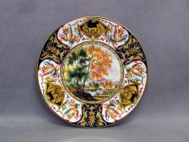 Ceramic ornamanetal plate hand painted with landscape