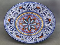 Large hand decorated centerpiece in the traditional style of Faenza Pottery