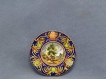 Hand painted plate with hilly landscape, Italian ceramic