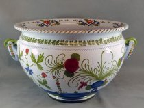Large cachepot, Faenza pottery, hand-painted