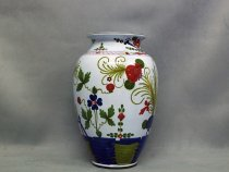 Vase decorated by hand in Garofano style, ceramics of Faenza