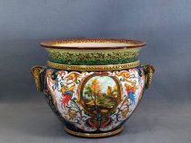 Flowerpot holder with ring handles decorated by Raphaelesque style