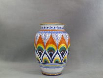 Vase decorated in Pavona style, artistic ceramics of Faenza