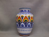 Hand-decorated majolica vase in Pavona style, Ceramiche di Faenza