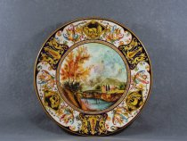 Plate with landscape, Artistic Ceramics of Faenza