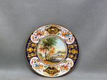 Plate ø 25 cm with landscape, Majolica of Faenza
