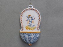Holy Water Stoup with Cherub, Italian Pottery