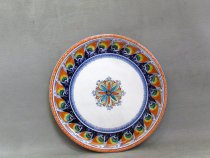 Hand painted artistic ceramic Serving plate with peacocks and geometric flower in the center.