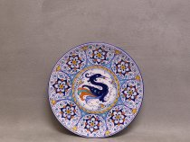 Persian Palmette plate 25 cm with gryphon, Faenza majolica