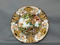 Hand painted plate with two shepherds, ceramics La Vecchia Faenza