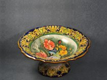 Fruit bowl shaped centerpiece painted with Flemish flowers, Ceramiche La Vecchia Faenza