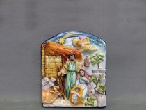 Nativity, hand-painted ceramic panel in relief. La Vecchia Faenza artistic ceramics