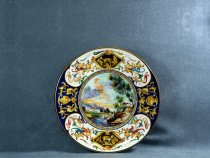 Raphaelesque style plate with landscape in the center, artistic ceramics La Vecchia Faenza