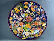 Artistic ceramic plate hand painted with Flemish flowers, La Vecchia Faenza majolica
