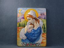 Madonna with Child Jesus with a very sweet expression, Artistic ceramic panel La Vecchia Faenza