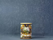 Raphaelesque Pencil holder with leaves & landscapes, artistic ceramics La Vecchia Faenza