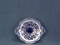Bowl with leaf handles, artistic ceramic hand-decorated by La Vecchia Faenza