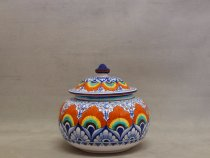 Biscuit jar with lid decorated in Pavona style,  artistic ceramic La Vecchia Faenza