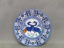 Persian Palmette plate with 2 astorre with intertwined necks, artistic ceramic of faenza