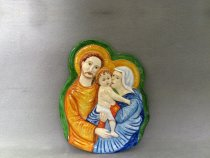 Image of the Holy Family hand painted on majolica in relief