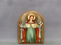Our Lady of Graces of Faenza hand painted on an artistic ceramic panel