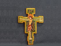 Crucifix worked in low relief 35 cm, Faenza ceramics