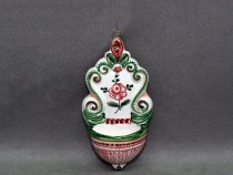 Ceramic stoup - 16 cm - painted with Rose & Leaves