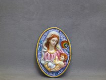 oval tile Madonna and Child 18 cm Penna di Pavone
