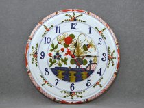 Hand-painted majolica wall clock with Garofano decoration.