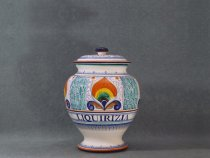ceramic apothecary jar for licorice - italian ceramics