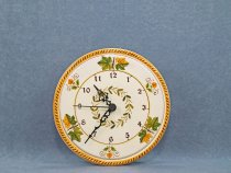 20.5 cm diameter wall clock in hand-painted ceramic with Vine Leaf decoration.