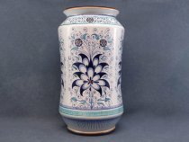 Umbrella stand in hand-decorated ceramic with 4 large palmettes