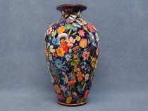vase 40 cm painted with Flemish flowers - La Vecchia Faenza ceramics