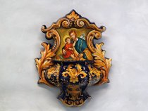Holy water stoup Saint Joseph and baby Jesus - italian artistic ceramics