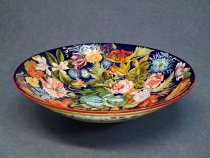 Bowl painted with flowers ø 34.5 cm, Italian artistic ceramics from Faenza