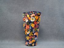 Vase painted with flowers 28.5 cm, artistic ceramic made in Italy
