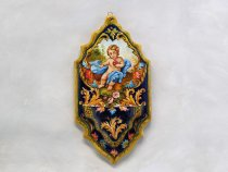 Holy Heart of Jesus holy water stoup in Italian artistic ceramic from Faenza