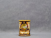Pencil holder with intertwining, leaves and hilly landscapes, Italian majolica La Vecchia Faenza