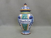 Nepetella (Calamint) vase, faience ceramics painted by hand