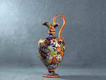 Amphora with handle painted with flowers, artistic ceramics La Vecchia Faenza