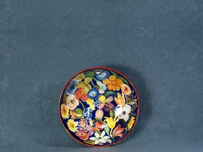 Ceramic bowl painted by hand with flowers