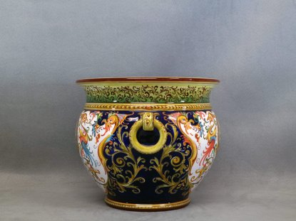 Raphaelesque flowerpot holder with rings, ceramic from Faenza