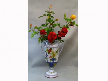 Flower vase with 2 handles, Artistic Ceramic of Faenza
